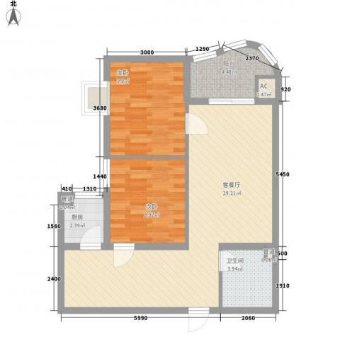 新街坊佳兴园2室1厅1卫1厨85.00㎡户型图
