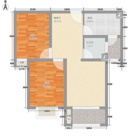 金狮薇尼诗花园2室1厅1卫1厨93.00㎡户型图