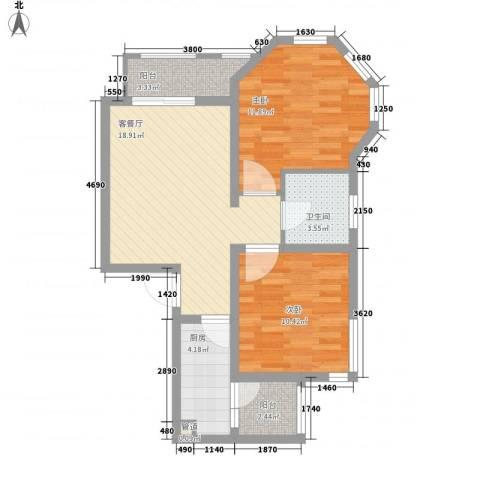 大华梧桐城邦2室1厅1卫1厨80.00㎡户型图