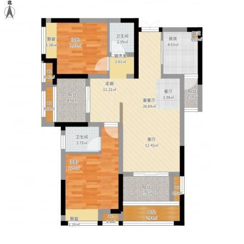 首创光和城2室1厅2卫1厨109.00㎡户型图