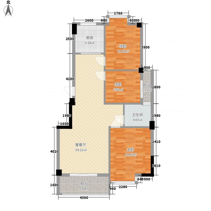 东方豪庭8#、9#楼B户型3室2厅1卫1厨
