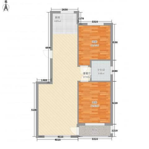 桃源山庄峰景2室1厅1卫0厨68.55㎡户型图