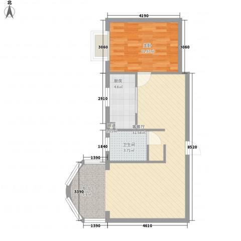 新街坊佳兴园1室1厅1卫1厨75.00㎡户型图