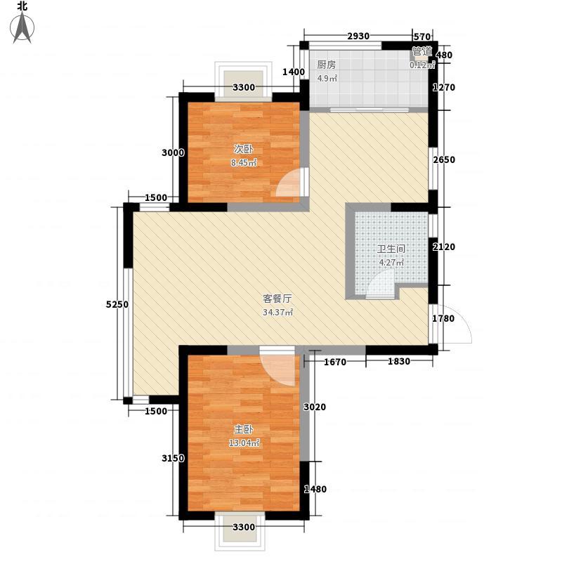 唐岛海岸6.70㎡1#-4#标准层A1户型2室2厅1卫1厨