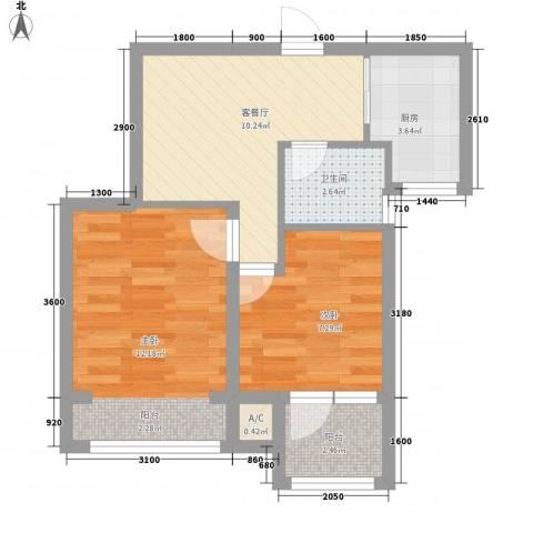 荣盛楠湖郦舍2室1厅1卫1厨57.00㎡户型图