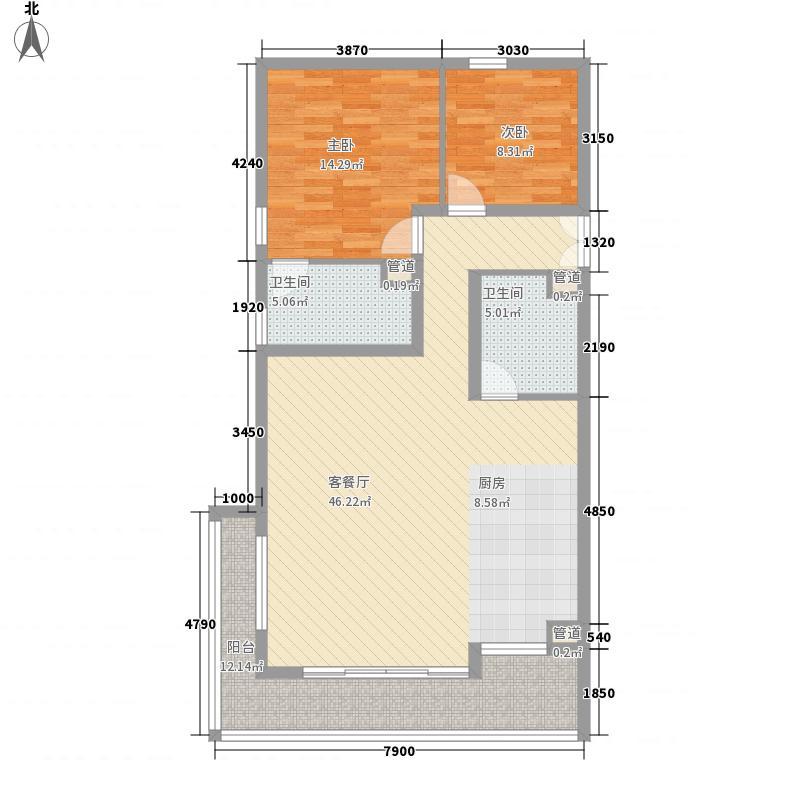 三空间122.07㎡户型2室2厅2卫1厨