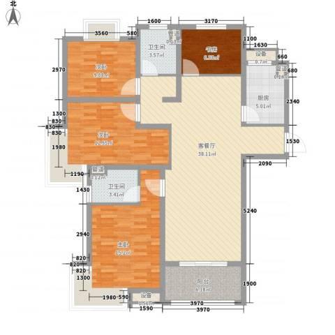 月星公馆4室1厅2卫1厨146.00㎡户型图