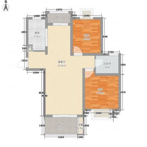 月星公馆2室1厅1卫1厨68.27㎡户型图