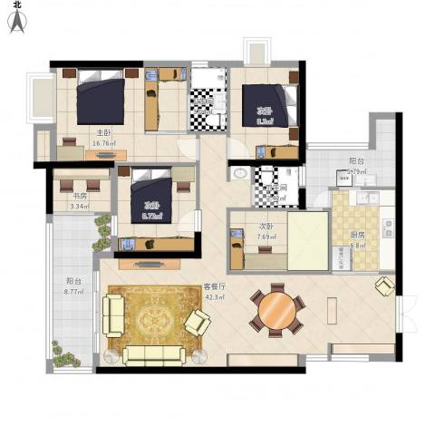 光明新区光明楼村花园4室1厅2卫1厨156.00㎡户型图