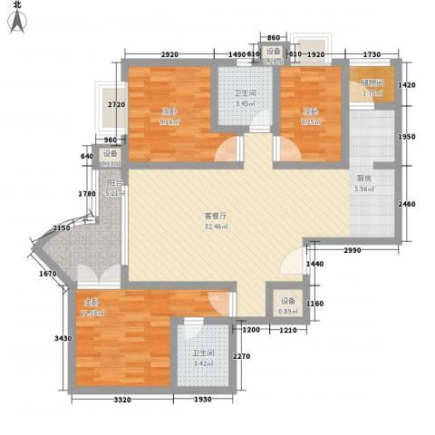 新街坊佳兴园3室1厅2卫0厨112.00㎡户型图