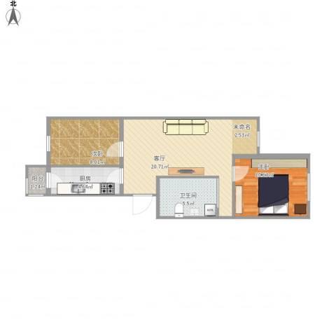 开阳里小区2室1厅1卫1厨70.00㎡户型图
