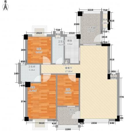 帝景豪庭3室1厅2卫1厨102.00㎡户型图