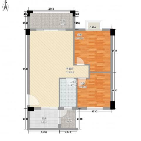 帝景豪庭2室1厅1卫1厨108.00㎡户型图