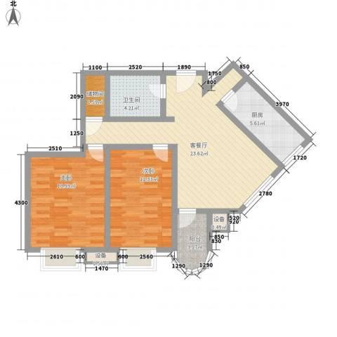 新街坊佳兴园2室1厅1卫1厨97.00㎡户型图