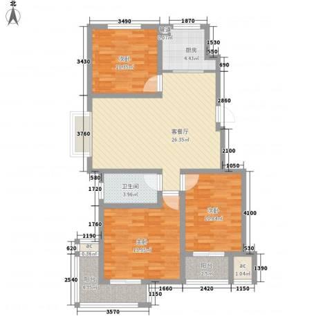 泰和名都3室1厅1卫1厨115.00㎡户型图