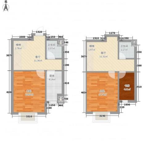 城市玫瑰园3室2厅2卫1厨104.00㎡户型图