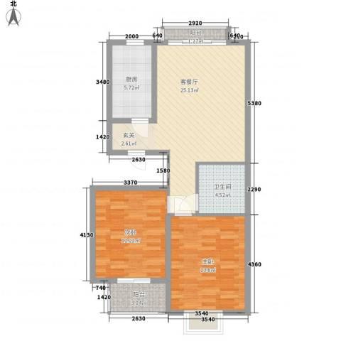 盛景八方2室1厅1卫1厨93.00㎡户型图