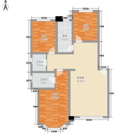 日月华庭二区3室0厅2卫1厨99.49㎡户型图