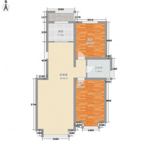 日月华庭二区2室0厅1卫1厨114.00㎡户型图