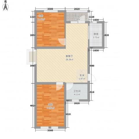 温莎小镇2室1厅1卫1厨88.00㎡户型图
