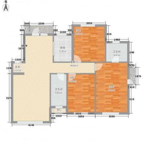 温莎小镇3室1厅2卫1厨129.00㎡户型图