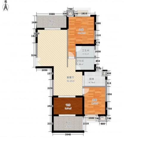 澄江广场3室1厅2卫1厨135.00㎡户型图