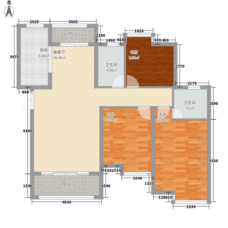 圣园129.00㎡圣园户型图B23室2厅2卫户型3室2厅2卫