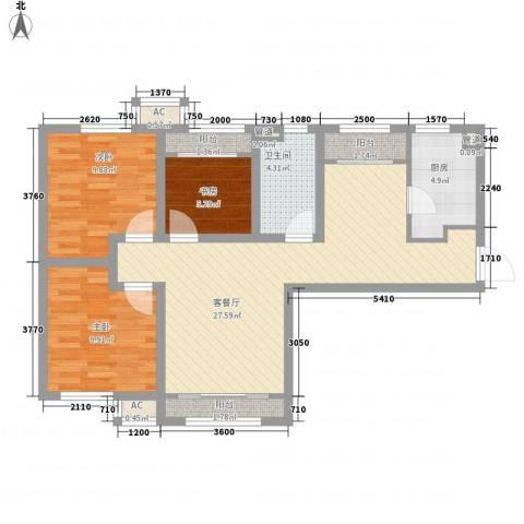 融创洞庭路壹号3室1厅1卫1厨101.00㎡户型图