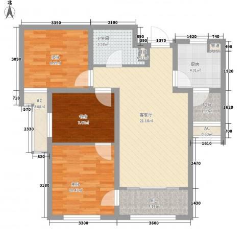 融创洞庭路壹号3室1厅1卫1厨96.00㎡户型图