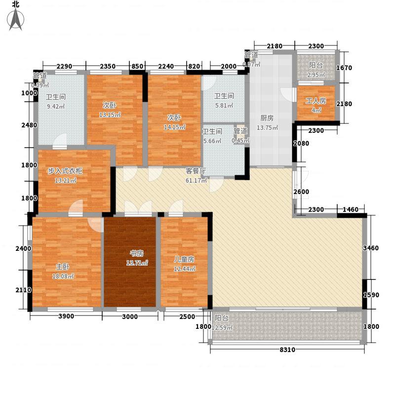 万科翡丽山230.00㎡万科翡丽山户型图30栋1-2单元标准层隐山阁C户型4室2厅3卫1厨户型4室2厅3卫1厨