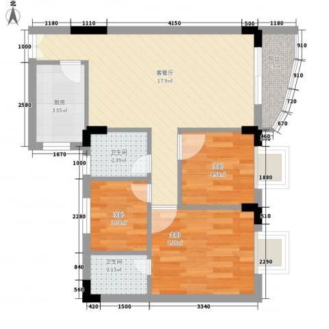 新天地华庭3室1厅2卫1厨65.00㎡户型图