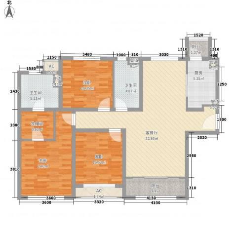 融创洞庭路壹号3室1厅2卫1厨139.00㎡户型图