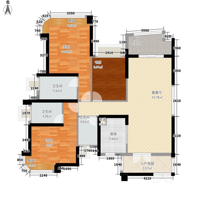 雅居乐剑桥郡146.00㎡1栋01户型3室2厅2卫1厨