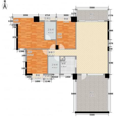 富怡名居3室1厅2卫1厨154.00㎡户型图