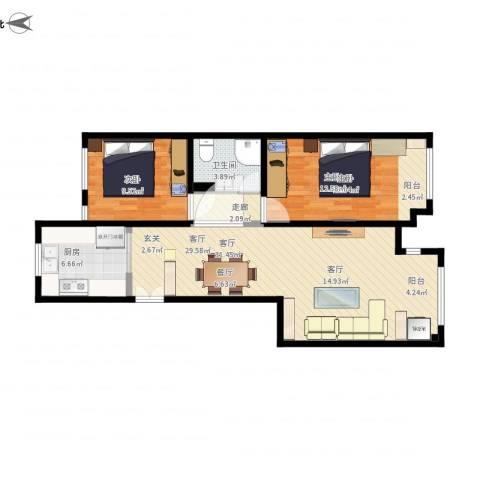 旭景花园2室1厅1卫1厨97.00㎡户型图
