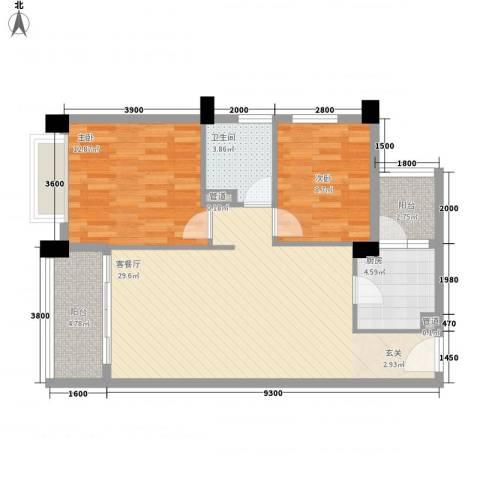 联华花园城2室1厅1卫1厨86.00㎡户型图