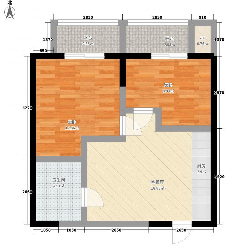 景天花园75.00㎡三期微尚公寓A4户型2室1厅1卫1厨