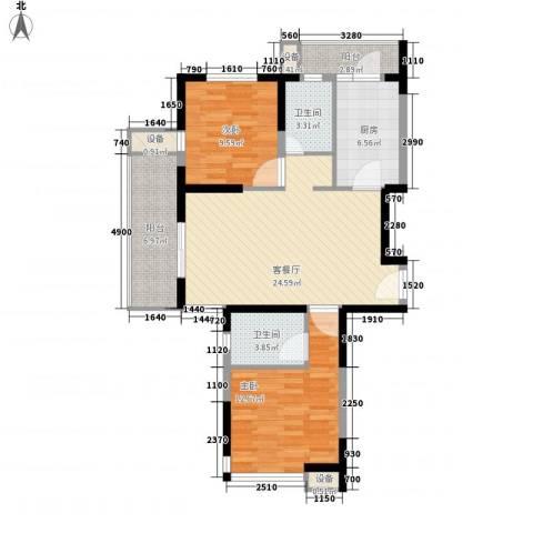 大华梧桐城邦2室1厅2卫1厨104.00㎡户型图