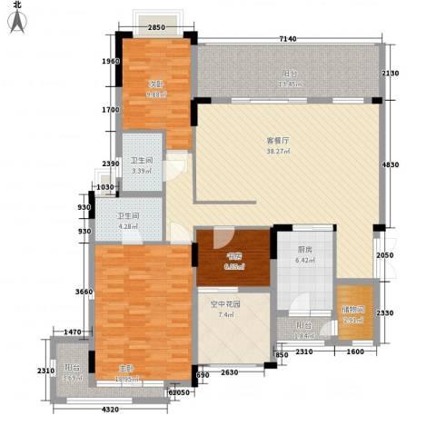 中惠沁林山庄3室1厅2卫1厨139.00㎡户型图