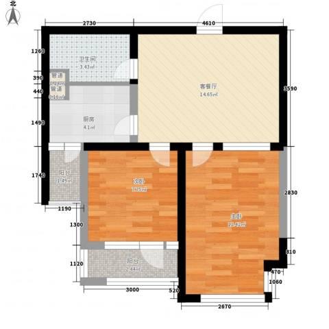 九洲湾景汇2室1厅1卫1厨69.00㎡户型图