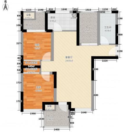 大华梧桐城邦2室1厅1卫1厨90.00㎡户型图