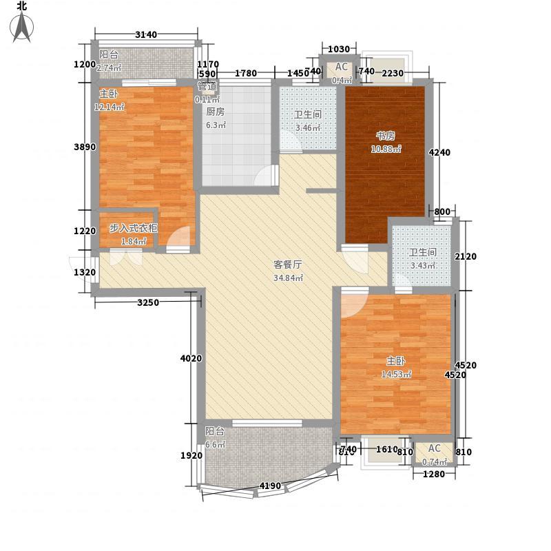 东湖阳光142.86㎡东湖阳光G2户型3室2厅2卫1厨142.86㎡户型3室2厅2卫1厨