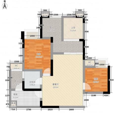 国奥村二期2室1厅1卫1厨102.00㎡户型图