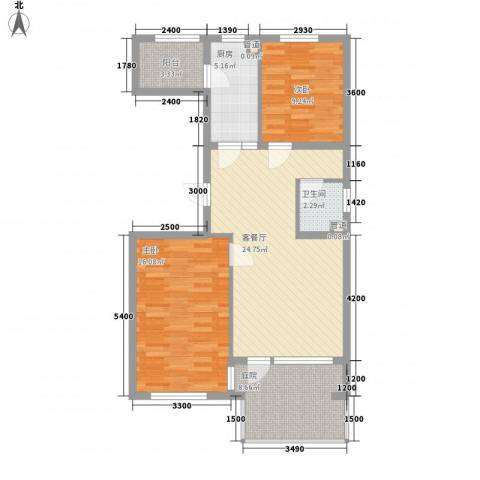 高教新城・学区嘉园2室1厅1卫1厨89.00㎡户型图