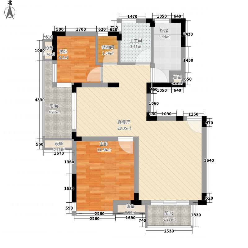 大华梧桐城邦95.00㎡B4户型2室2厅1卫