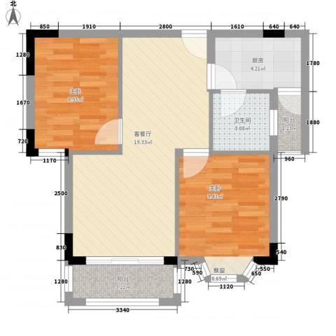 扬州市教工宿舍2室1厅1卫1厨71.00㎡户型图