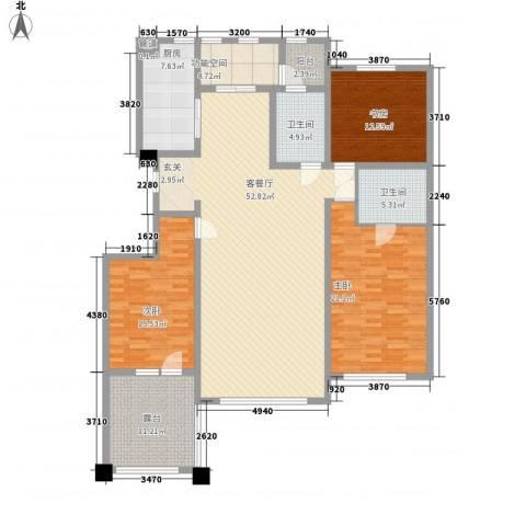 辰能溪树河谷3室1厅2卫1厨138.34㎡户型图