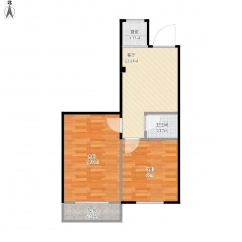 西坝河东里2室1厅1卫1厨59.00㎡户型图