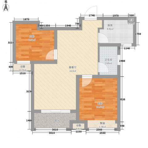 中国铁建・明山秀水2室1厅1卫1厨79.00㎡户型图