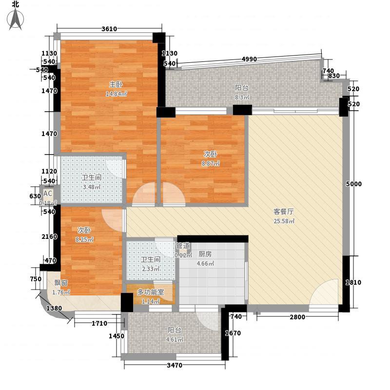 雅居乐新城湾畔116.00㎡2座01户型3室2厅2卫1厨